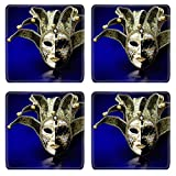 Liili Natural Rubber Square Coasters IMAGE ID: 4350839 Venetian Mask composition
