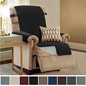 Gorilla Grip Original Slip Resistant Recliner Slipcover Protector, Seat Width Up to 26 Inch Suede-Like, Patent Pending, 2 Inch Straps, Hook, Furniture Cover for Kids, Dogs, Pets, Recliner, Jet Black