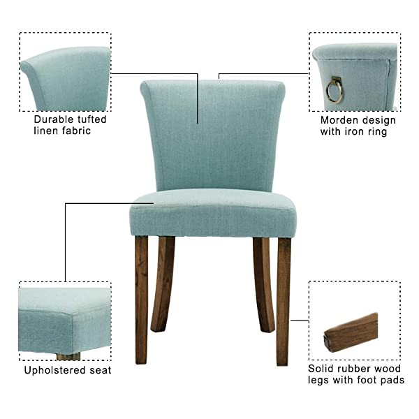 Fabric Dining Room Chairs, Upholstered Rustic Wood Chairs, Set of 2, Armless with Ring Pull, Light Blue
