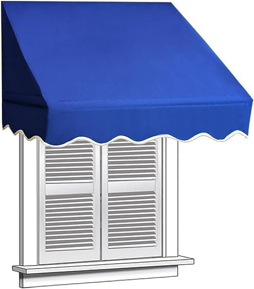 Amazon Com Aleko 8 X 2 Feet Window Awning Door Canopy 8 Foot Decorator Awning Blue Home Kitchen