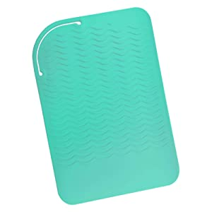 """Sygile 11"""" X 7.5"""" Larger Size Heat Resistant Silicone Travel Mat, Anti-heat Pad for Hair Straighteners, Curling Irons, Flat Irons and Other Hot Styling Tools - Mint Green"""