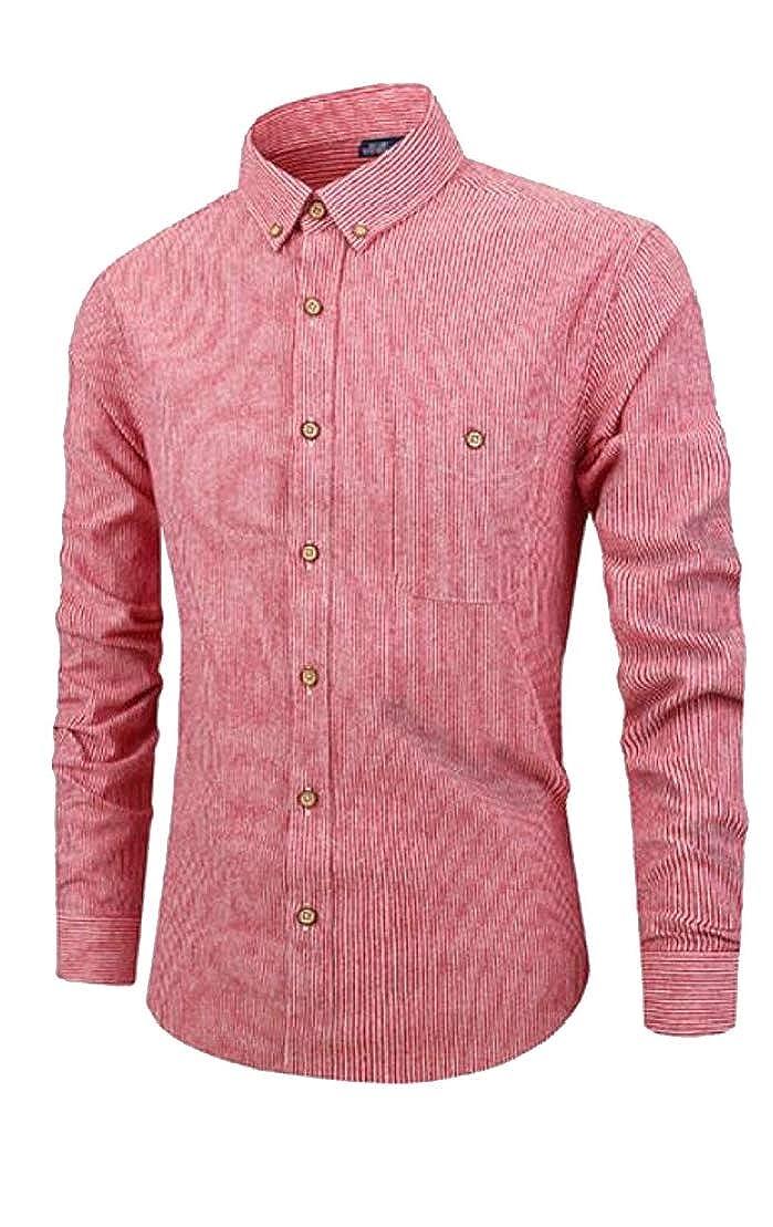Wofupowga Mens Slim Stripe Spread Collar Long Sleeve Button-Down Shirts