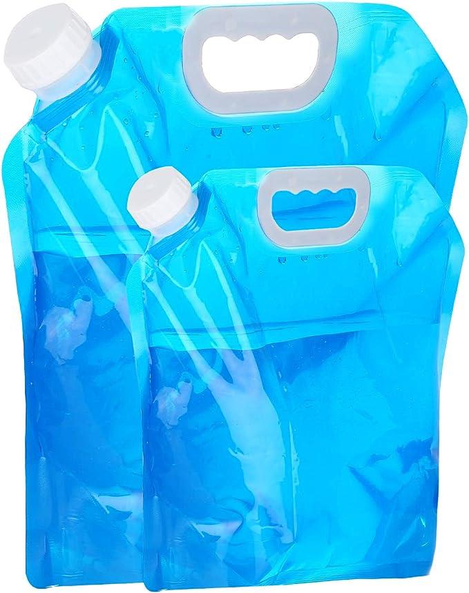 VABNEER Contenedor de Agua, 5L + 10L Bolsa de Agua Plegable Portátil y Plegable Contenedor de Agua al Aire Libre para Acampar Senderismo Picnic BBQ
