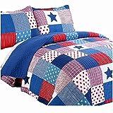 Ukeler Children Comforter Set - 3 Piece - Blue Star Bedspread Quilt Sets - Patchwork Cotton Bedding Set for Boys and Girls, includes 1 Quilt, 2 Pillow Shams
