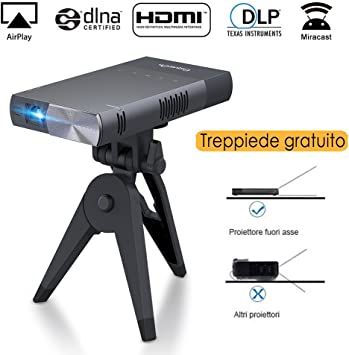 Exquizon - Mini proyector portátil S1, de LED con HDMI para iPhone ...