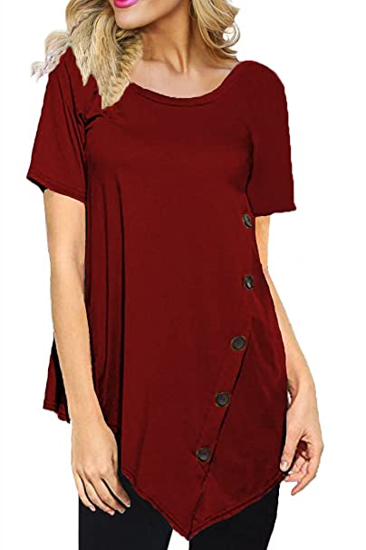826750ee4e4 Laucote Womens Scoop Neck Short Sleeve High Low Hem Casual Plus Size Tunic  Tops at Amazon Women s Clothing store