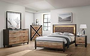 GTU Furniture Striking Two Tone Wooden 4Pc King Bedroom Set(K/D/M/N)