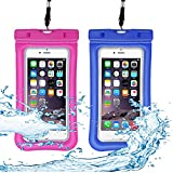 Venoro Universal Waterproof Case, IPX 8 Floating Waterproof Phone Pouch Underwater Dry Bag for iPhone X, 8/8 Plus, 7/7 Plus, Samsung Galaxy S9/S9 Plus, S8/S8 Plus, S7 Edge, LG V30, Moto G6 (2 Pack)