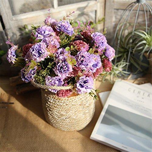 Tronet Fakes Plants Flower Artificial Fake Flowers Carnations Floral Wedding Bouquet Bridal Hydrangea Decor Purple