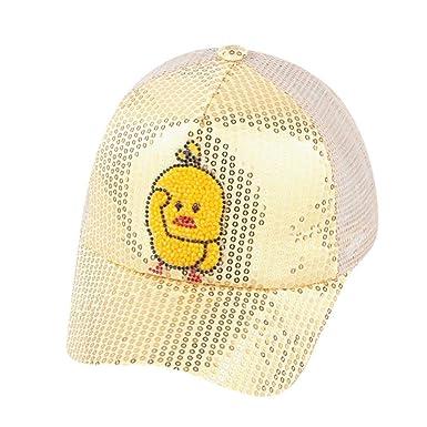 QUICKLYLY Sombreros Gorras Niños Lindos Bebé Dibujos Animados Pato Estudiante Paillette Sombrero Gorra De BéIsbol para El Sol -Amarillo: Amazon.es: Ropa y ...