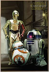 Silver Buffalo SE0836 Disney Star Wars Ep7 The Droids Wood Wall Art, 13 x 19 inches