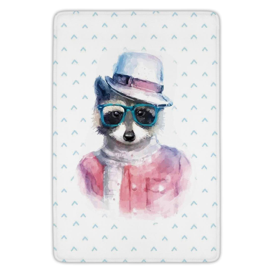 Bathroom Bath Rug Kitchen Floor Mat Carpet,Funny,Retro Hipster Funky Raccoon with Sunglasses Hat Pullover Portrait Animal Humor Theme,Pink Blue,Flannel Microfiber Non-slip Soft Absorbent