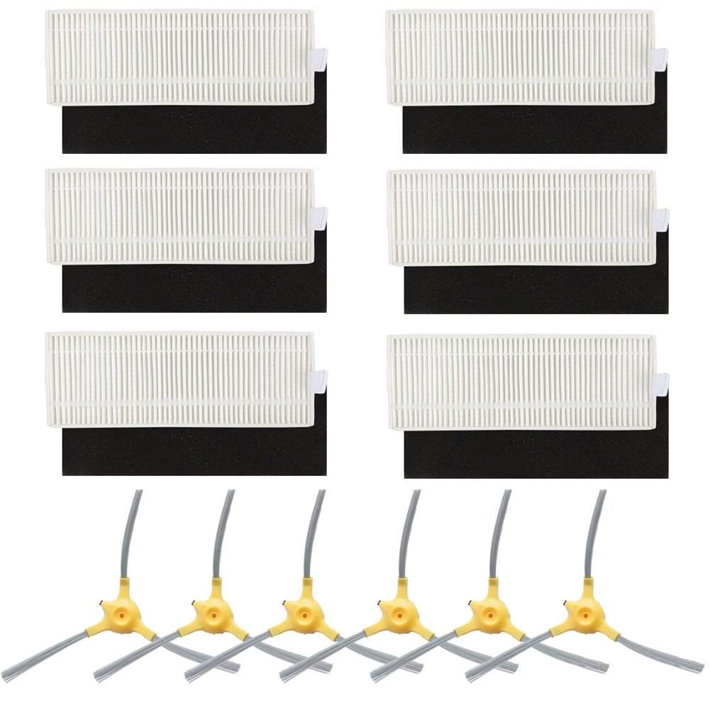 BBT(BAMBOOST) Replacement Parts Compatible Eufy Robovac 11+ & 11Plus Vacuum Cleaner Accessories - Filters and Side Brushes (Pack of 12)