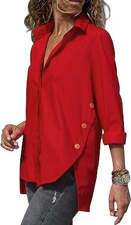 OranDesigne Camisa para Mujer Blusa de Manga Larga Botones Camisetas Camiseta de Cuello Alto de Solapa Casual para Camisas Rojo ES 48: Amazon.es: Ropa y accesorios