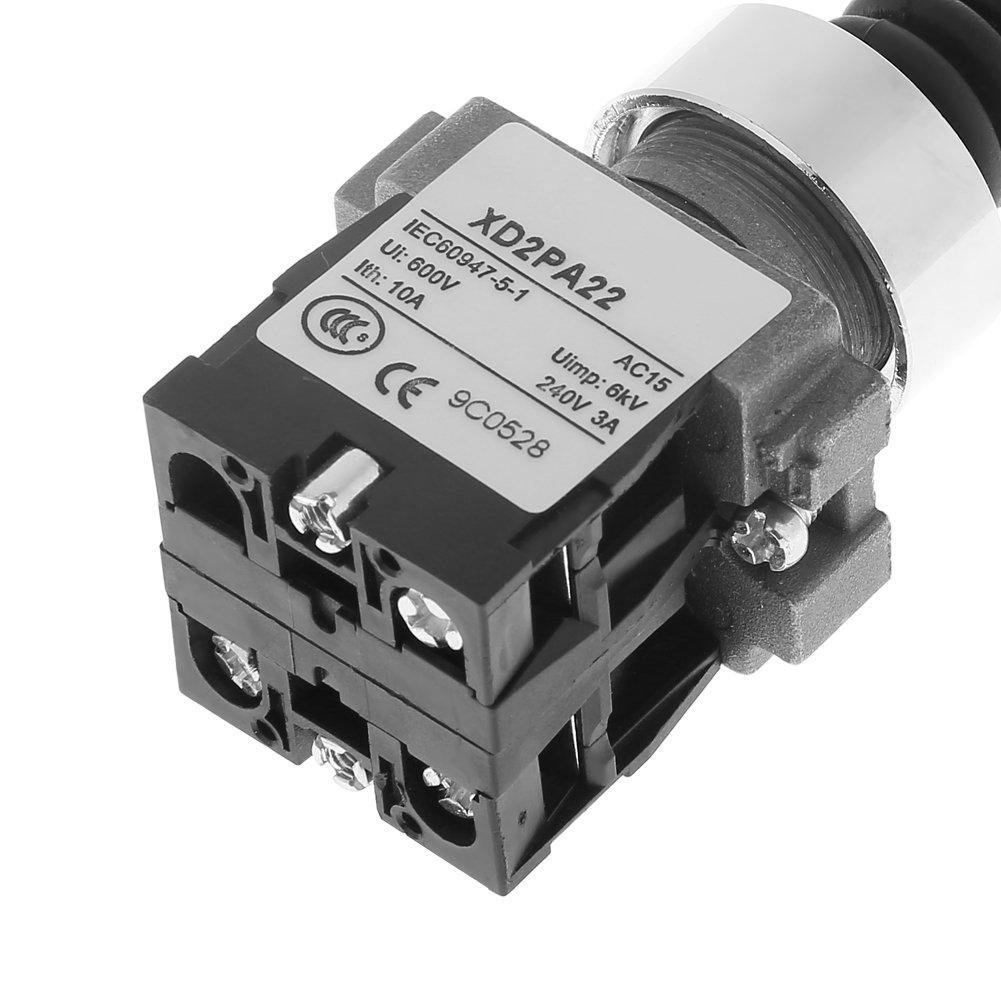 50 Hz 1pc XD2PA22CR Interruptor de palanca universal de joystick moment/áneo de retorno de resorte de 2 posiciones de 2NO 0~380V CA ; 0~220 VCC Interruptor de palanca universal