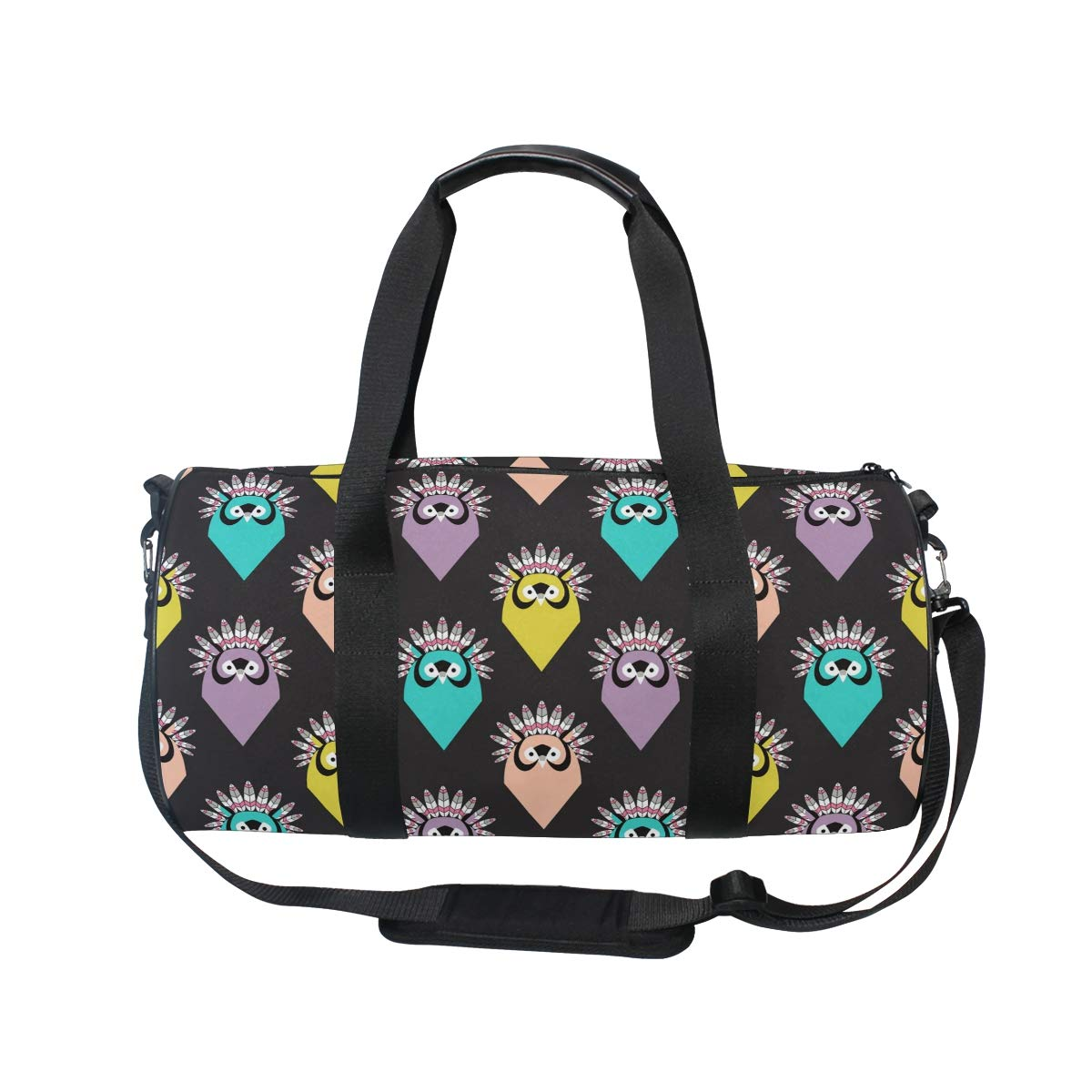 WIHVE Gym Duffel Bag Cute Owls With Feathers Sports Lightweight Canvas Travel Luggage Bag