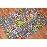 """Children's Play Village Mat Town City Roads Area Rug 95cm x 133cm (3ft 1"""" x 4ft 4"""")"""