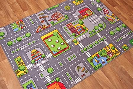 The Rug House Children\'s Play Village Mat Town City Roads Rug 95cm x ...