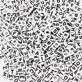 ESUMIC Mixed 500PCS Acrylic Plastic Letter Beads Spacer Cube Alphabet Beads for DIY Bracelets Necklaces (White&Black)