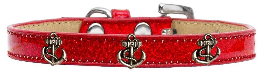 Mirage Pet Products 633-23 RD12 Bronze Anchor Widget Ice Cream Dog Collar, Size 12, Red