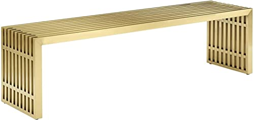 Modway Gridiron Contemporary Modern Gold Stainless Steel Large Bench, 60