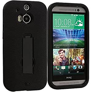 Accessory Planet(TM) Black / Black Heavy Duty Hybrid Hard/Soft Silicone Case Cover with Stand Accessory for HTC One M8