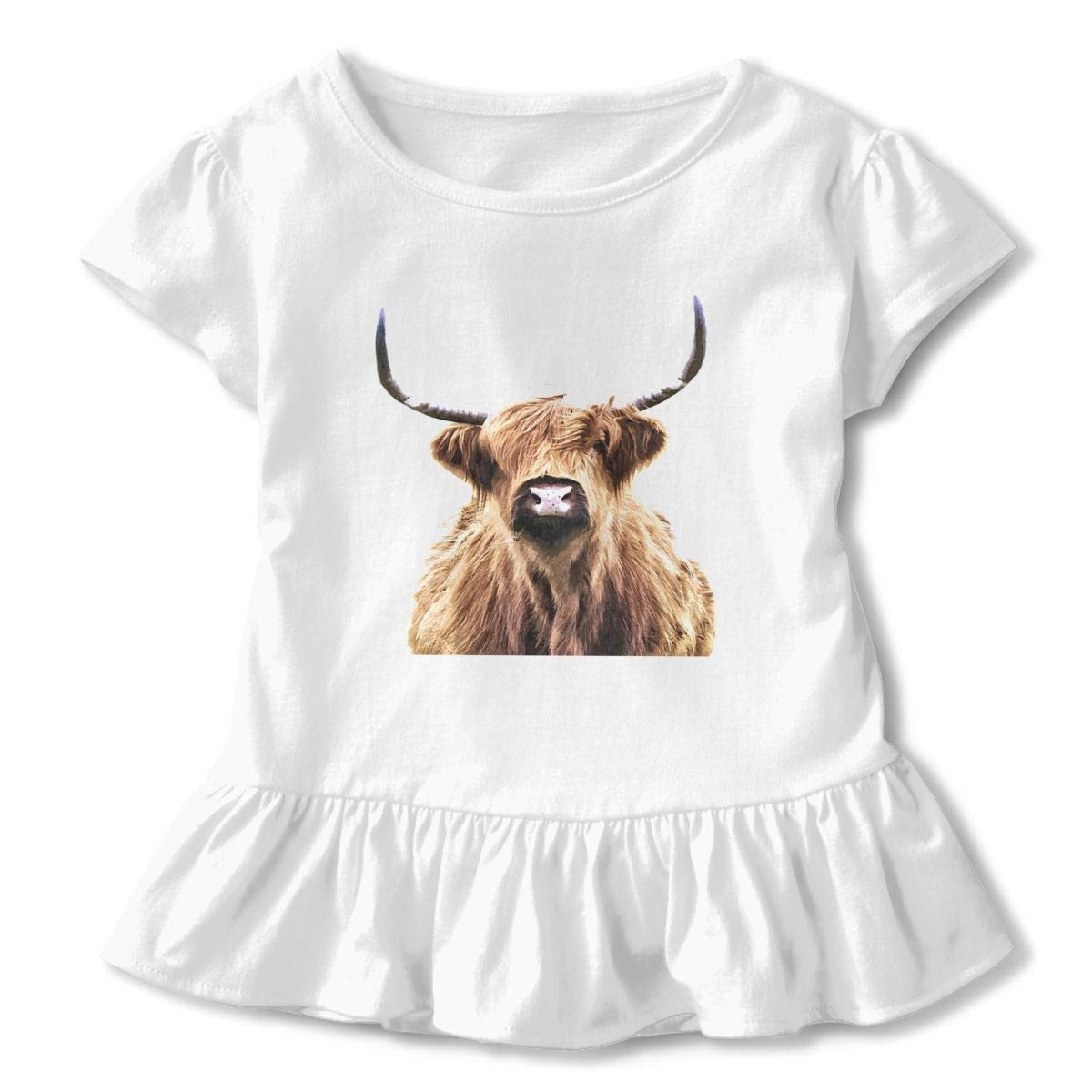QUZtww Highland-cow-portrait905836-curtains Cute Adorable Printed Patterns Basic Ruffle Tee Shirts with Short Sleeves and O-Neck for Daily Party School Outside Playing White