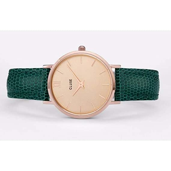 Amazon.com: CLUSE Minuit Rose Gold Champagne Emerald Lizard CL30052 Womens Watch 33mm Leather Strap Minimalistic Design Casual Dress Japanese Quartz ...