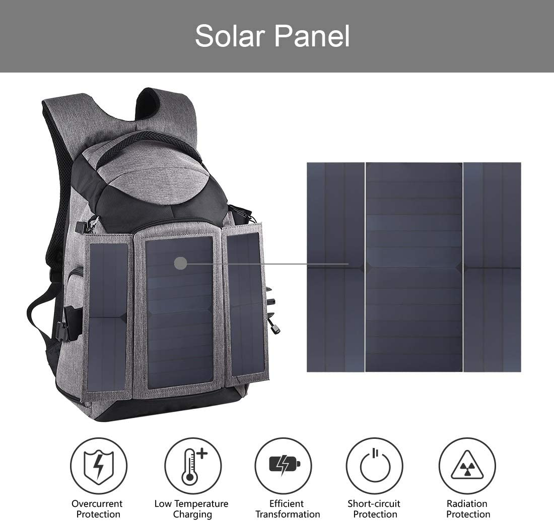 Grey Color : Grey Yangjingya Camera Bag 3-Fold 14W Solar Power Outdoor Portable Dual Shoulders Backpackage Camera Bag with USB Port /& Earphone Hole