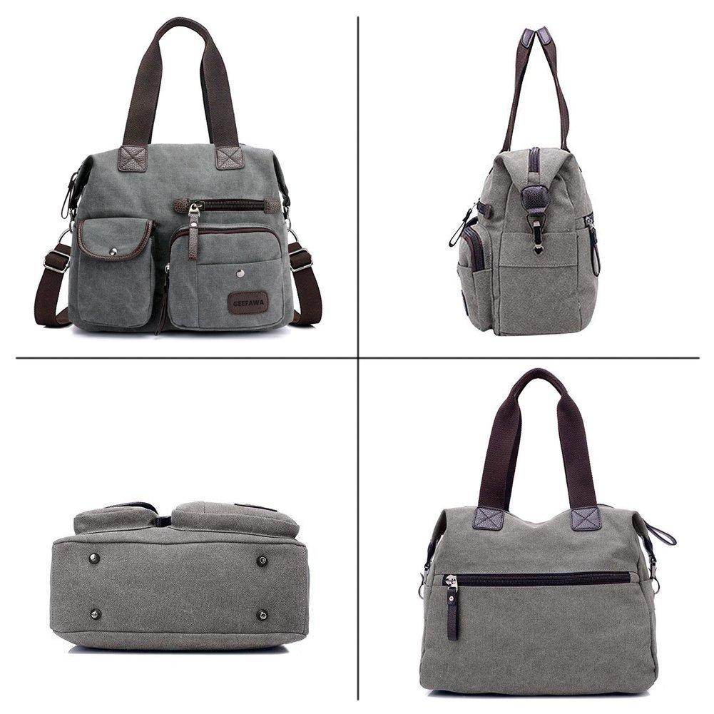 Women's Canvas Tote Bag Top Handle Bags Shoulder Handbag Tote Shopper Handbag crossbody bags (Gray) by Greatbuy-US (Image #5)