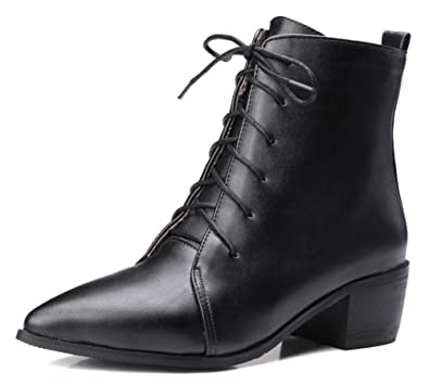 Women's Trendy Pointed Toe Lace Up Block Heel Stylish Ankle Boots