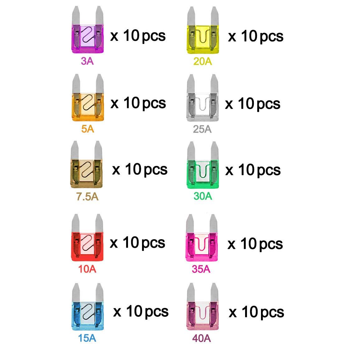 VANTRONIK Mini Blade Fuse 120PCS Assorted 5A 7.5A 10A 15A 20A 25A 30A Replacement APM//ATM Assortment Kit Set