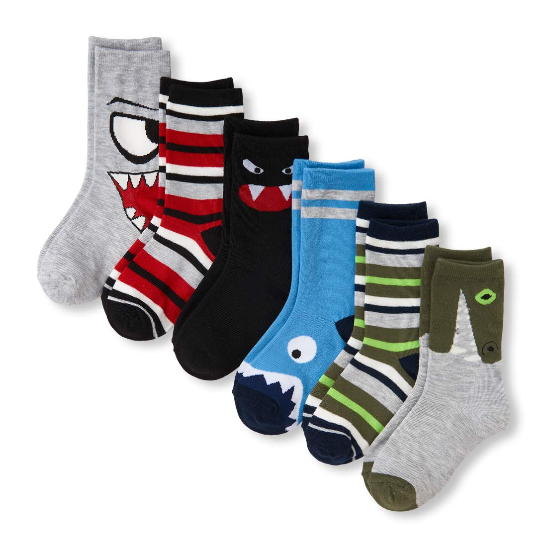 The Children's Place Big Boys' 6 Pack Fashion Crew Socks