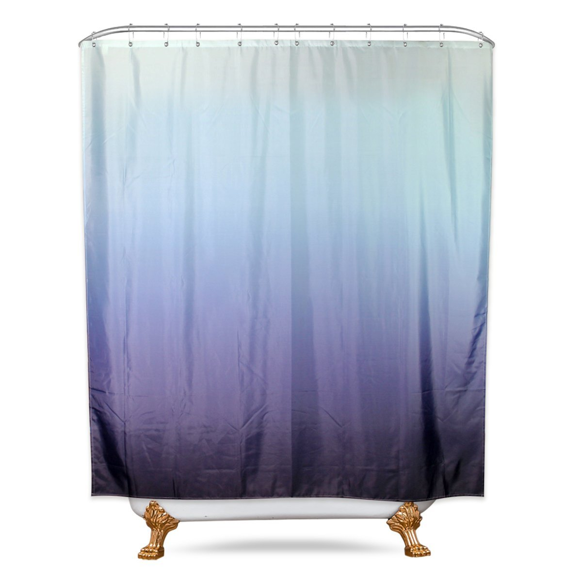 Riyidecor Ombre Blue Shower Curtain Panel 72x84 Inch Extra Long With Metal Hooks 12 Pack Modern Fashion Pure Decor Fabric Bathroom Set Polyester Waterproof