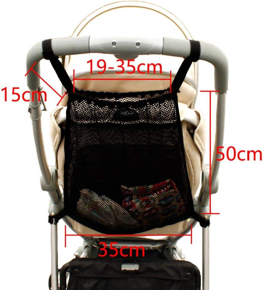 bolsillo de almacenamiento Adecuado para la mayor/ía de las manijas universal Bolsillo de malla la parte posterior de la carriola redes para cochecitos de beb/é Bolsas de compras negro 1 pieza