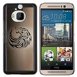Lobo tribal del tatuaje de la tinta Negro Brown Hound- Metal de aluminio y de plástico duro Caja del teléfono - Negro - HTC One M9+ / M9 Plus (Not M9)