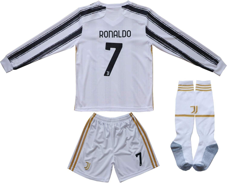 FCRM 2020/2021 New #7 Cristiano Ronaldo Kids Long Sleeve Soccer Jersey & Shorts Youth Sizes