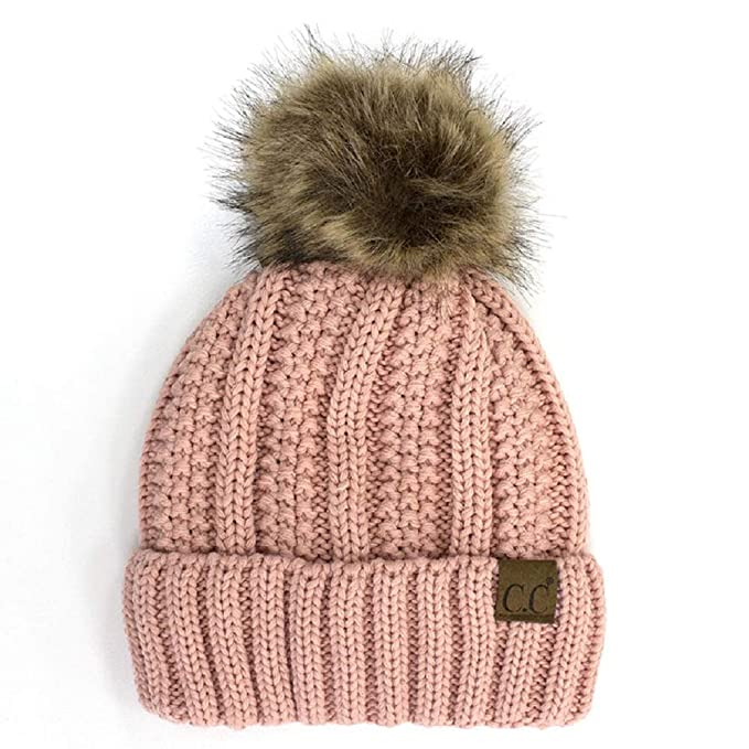 Amazon.com  BYSUMMER C.C Cable Knit Beanie with Faux Fur Pom - Warm ... 819b7aa629f