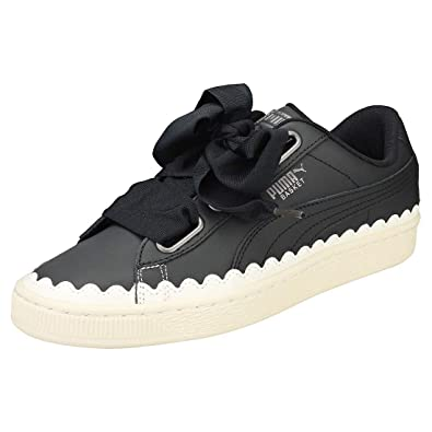 best service d4501 a6cc7 PUMA Women's Basket Heart Scallop Wn S Black-PUM Leather ...