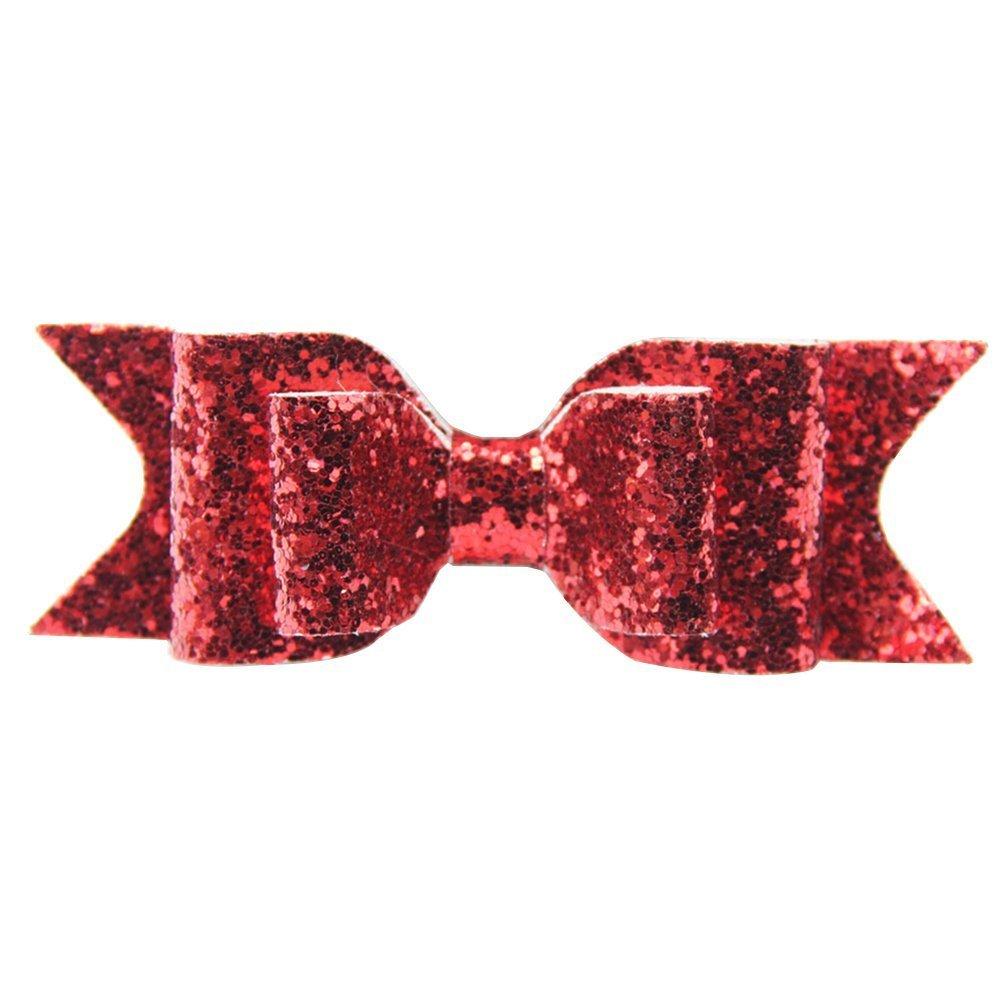 Girl's Shining Bowknot Spring Hair Clip Glitter Bow Barrette Hair Accessory (Silver) DAEDALUS®