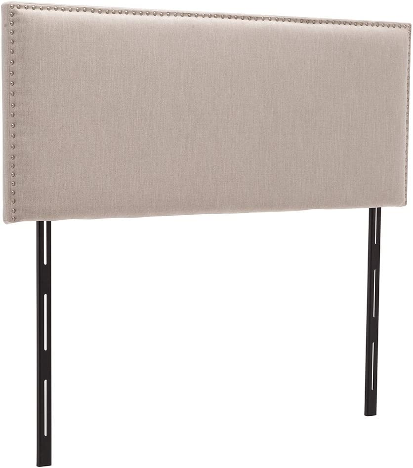Haobo Queen Full Nailhead Linen Upholstered Headboards with Height Adjustments, Natual Line