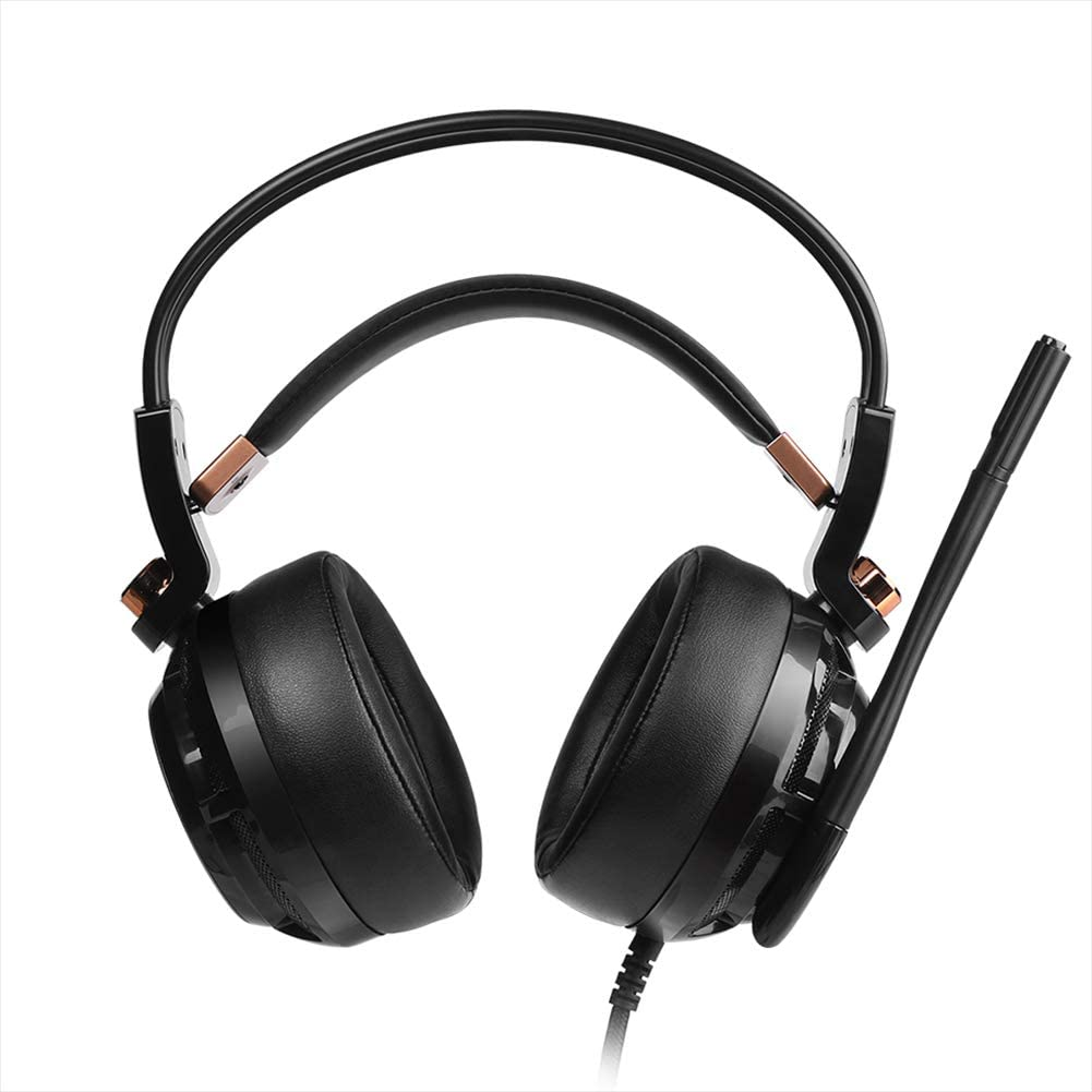 Headband Gaming Headphones 3.5mm Stereo Gaming Headsets with Mic for Laptop Computer-Gold Gaming Headset Ultralight Professional Upgrade 7.1 Sound Active Noise Cancelling Gaming Headphones