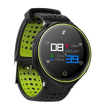 SKQC Reloj Inteligente, Reloj Inteligente a Prueba de Agua con Bluetooth 4.0 IP68 con Monitor de frecuencia cardíaca Podómetro Actividad física Rastreador ...