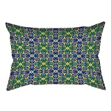 iPrint Cotton Linen Throw Pillow Cushion Cover,Arabian Decor,Ornate Arabic Ethnic Mosaic Oriental Eastern Patterns with Damask Tribal Art,Yellow Green Teal,Decorative Square Accent Pillow Case