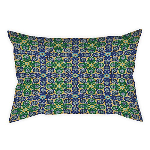 iPrint Cotton Linen Throw Pillow Cushion Cover,Arabian Decor,Ornate Arabic Ethnic Mosaic Oriental Eastern Patterns with Damask Tribal Art,Yellow Green Teal,Decorative Square Accent Pillow Case by iPrint