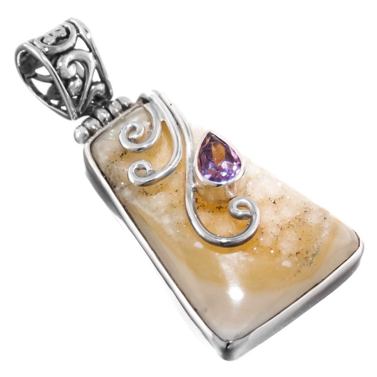 Agate Druzy Amethyst 925 Sterling Silver Pendant 1 5//16