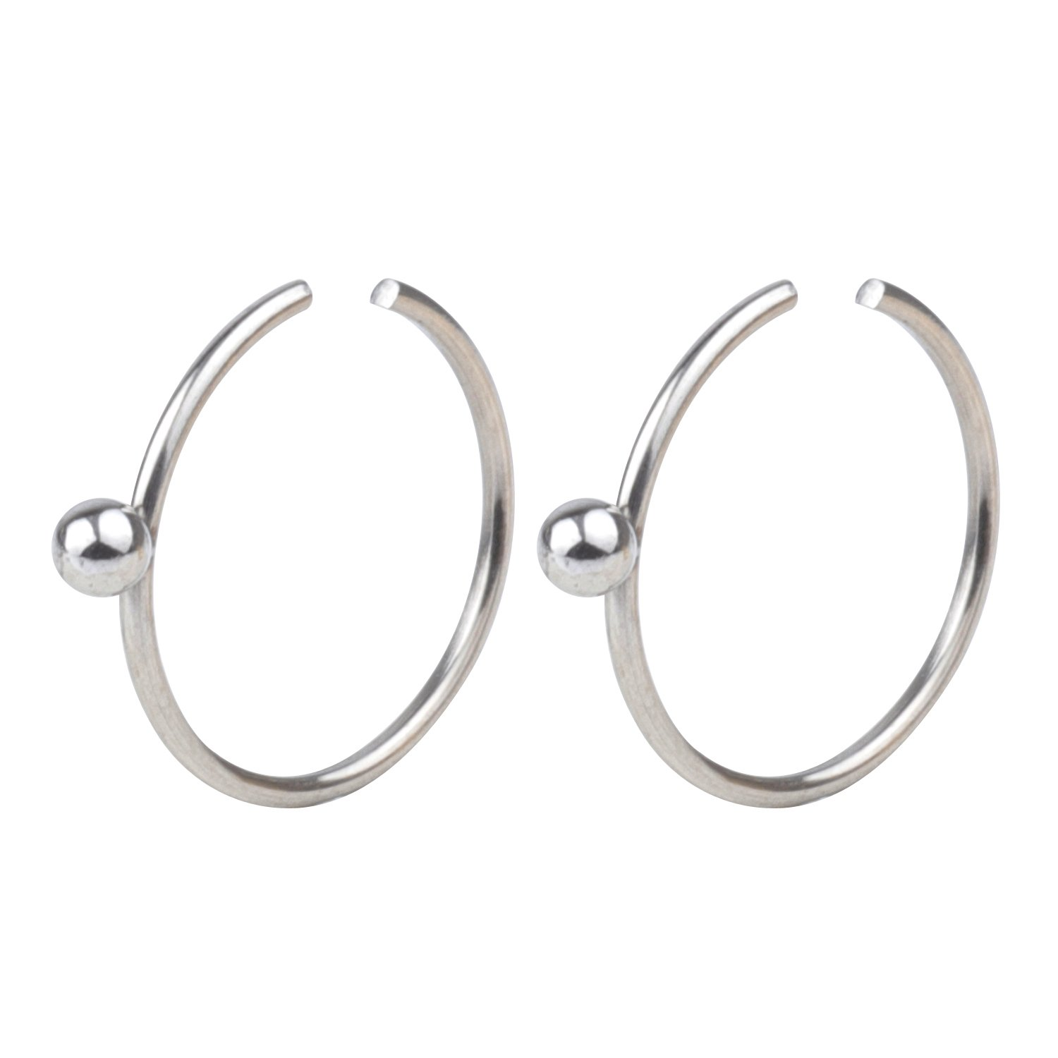 FORYOU FASHION Surgical Steel 22G 10mm Nose Rings Piercing Jewelry Hoop Nose Ring