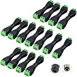 15 Pairs 12V Male+Female 2.1x5.5MM DC Power Jack Plug Adapter Connector for CCTV Camera and LED Strip Light