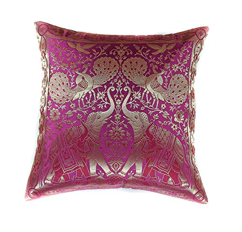 Narphosit India Style Elephant Peacock Throw Pillow Cover Decorative Sofa Couch Cushion Cover Zippered 16x16 Inch (40x40 Cm) Pink (French Setee)