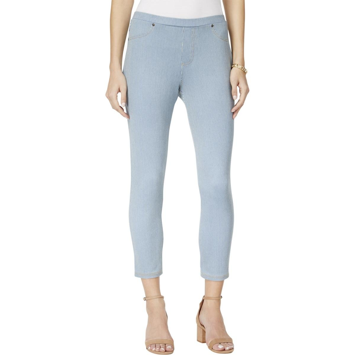Style & Co. Womens Striped Casual Capri Leggings Blue M